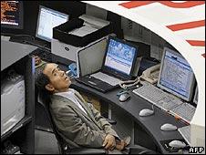 Japanese stock market trader