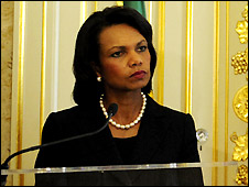 Condoleezza Rice in Lisbon before going to Libya - 5/9/2008
