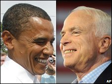 Barack Obama and John McCain, 5 September 2008