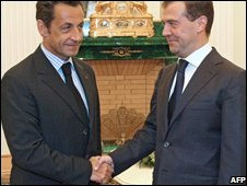 Nicolas Sarkozy shakes hands with Russian president, Dmitri Medvedev in August 2008
