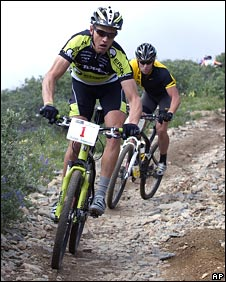 Armstrong (right) returned to competitive action in a recent mountain bike event