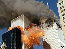 Passenger plane hits second tower of World Trade Center on 11 September 2001