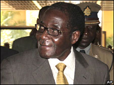 Zimbabwean president Robert Mugabe arrives for the talks in Harare on 10 September 2008