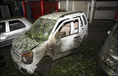 A car damaged in the blast