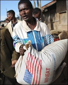 An Ethiopian worker carries food aid, file image