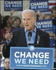 Joe Biden speaks at a campaign rally in Ohio, 17 September 2008