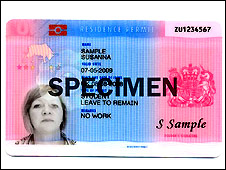 Specimen of UK ID card