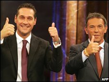 Leader of the Austrian Freedom Party, Heinz-Christian Strache (left) and Alliance for the Future of Austria leader Joerg Haider in Vienna (28/09/2008)