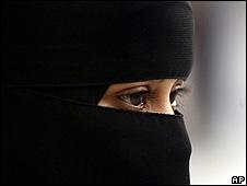 Saudi woman in full face veil, or niqab