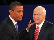 Barack Obama (L) and John McCain at Nashville debate