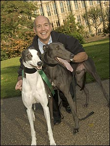 Bob Spink and his victorious greyhounds
