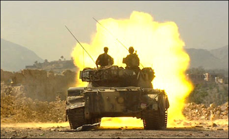 A tank fires at militant movement detected at the edge of the town of Loi Sam in Bajaur