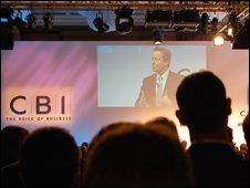 David Cameron addressing the CBI conference