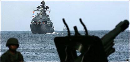 Navios rusos llegan al puerto de la Guaira en venezuela (25/11/08)