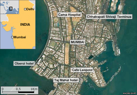 Aerial map of Mumbai showing sites of shootings