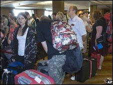 Stranded passengers at Suvarnabhumi airport, Bangkok