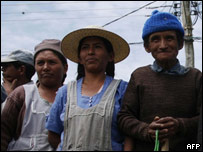 Campesinos, simpatizantes de Evo Morales