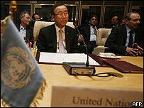 El secretario general de la ONU y otros funcionarios, en Sharm el-Sheikh, Egipto