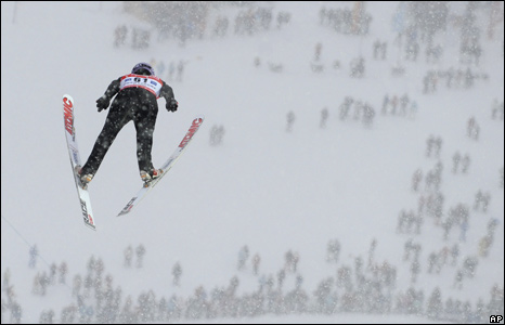 German ski jumper Martin Schmitt flying through the air