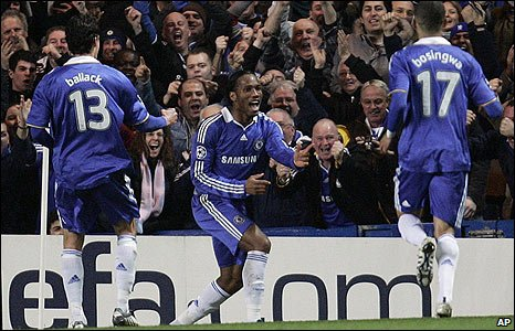 Didier Drogba celebrates putting Chelsea ahead against Juventus