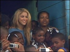 Shakira at her school in Colombia
