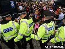 Police and protesters at the G8 in Edinburgh in 2005