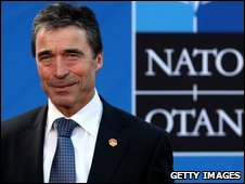 Anders Fogh Rasmussen at the Nato summit, 3 April