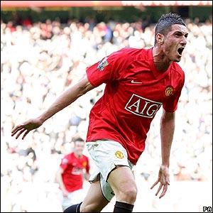 Federico Macheda celebrates his dramatic late winner for United