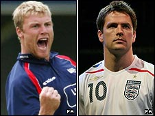 Andrew Flintoff and Michael Owen