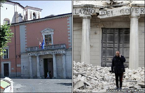 A before-and-after look at one of the historic government building in LAquila