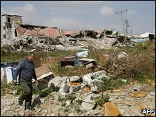 Rubble of a factory in Gaza