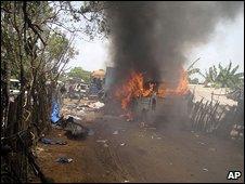 Burning ambulance in Mullivaikal, Sri Lanka