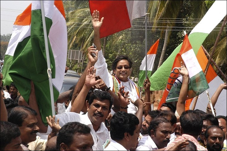 Congress hails India poll victory - Day in pictures 16 May. BBC.