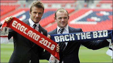 David Beckham and Wayne Rooney attended the bid launch at Wembley