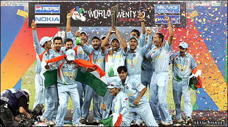 India celebrate their 2007 World Twenty20 title
