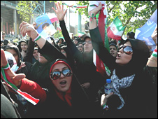 Supporters of Iran's incumbent President Mahmoud Ahmadinejad