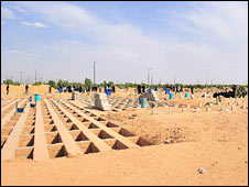 Spaces for graves at Behesht-e-Zahra cemetery in Tehran