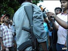 A Maoist leader talking to the media in Lalgarh