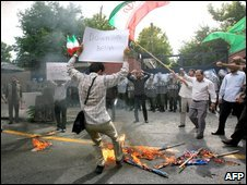 Protests outside British embassy in Tehran