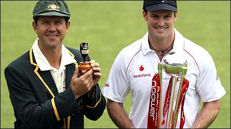 Australia captain Ricky Ponting (left) and England skipper Andrew Strauss