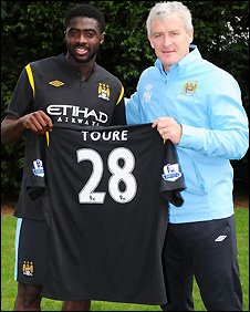 Kolo Toure and Mark Hughes