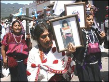 Relatives of the victims of the 1997 Acteal massacre march in San Cristobal, Chiapas, on 11/08/09