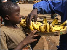 A banana-seller in Zimbabwe, file image