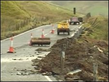 The landslip affected the stretch of road at Bwlch Oerddws