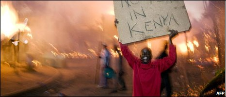Raila Odinga supporter during riots in early 2008