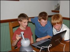 The triplets (l-r) Tom, Ollie and Jack