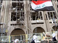 Iraqi forces at the sight of the bombings