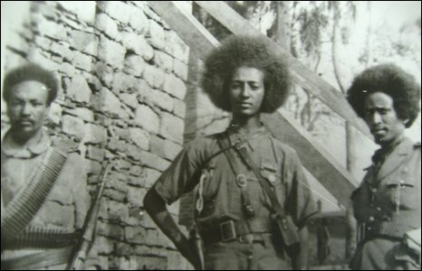 A photo of three African soldiers taken during the Second World War