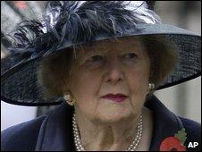 Margaret Thatcher attends a memorial service on 11 November 2009