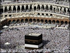 The Kaaba inside the Grand mosque in Mecca